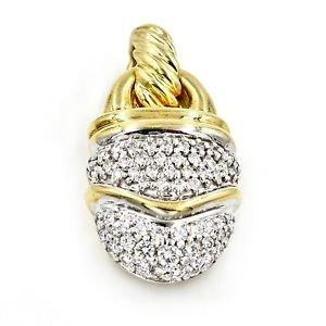 David Yurman Cable Classics Pave Diamond 18k Yellow Gold Acorn Pendant