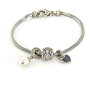 "Judith Ripka Sterling Snake Chain Charm Bracelet with 3 Charms 7.5"" J261200"