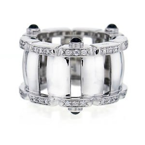 Patek Philippe Twenty 4  Diamond and Sapphire Band 18k White Gold Ring Size 5.5