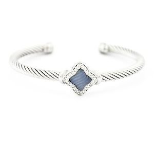 David Yurman Quatrefoil Chalcedony & Diamonds 5mm Bracelet 18k Solid White Gold