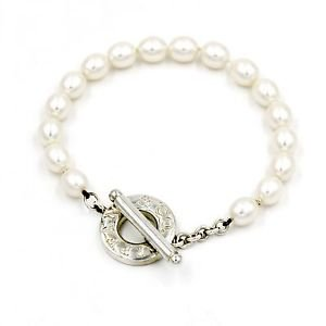Tiffany & Co. Pearl Toggle Clasp Bracelet in 925 Sterling Silver, Length 8.25""