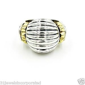 Lagos Caviar Fluted Dome Ring in 18k Yellow Gold & 925 Sterling Silver, Size 6.5