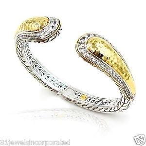 John Hardy Palu Kick Cuff 22k Gold & Sterling Silver with White Topaz Size Med