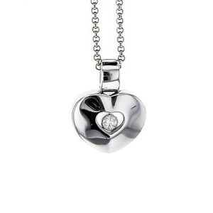 "Chopard Happy Diamond Heart Pendant on 16"" Chain in 18k White Gold"