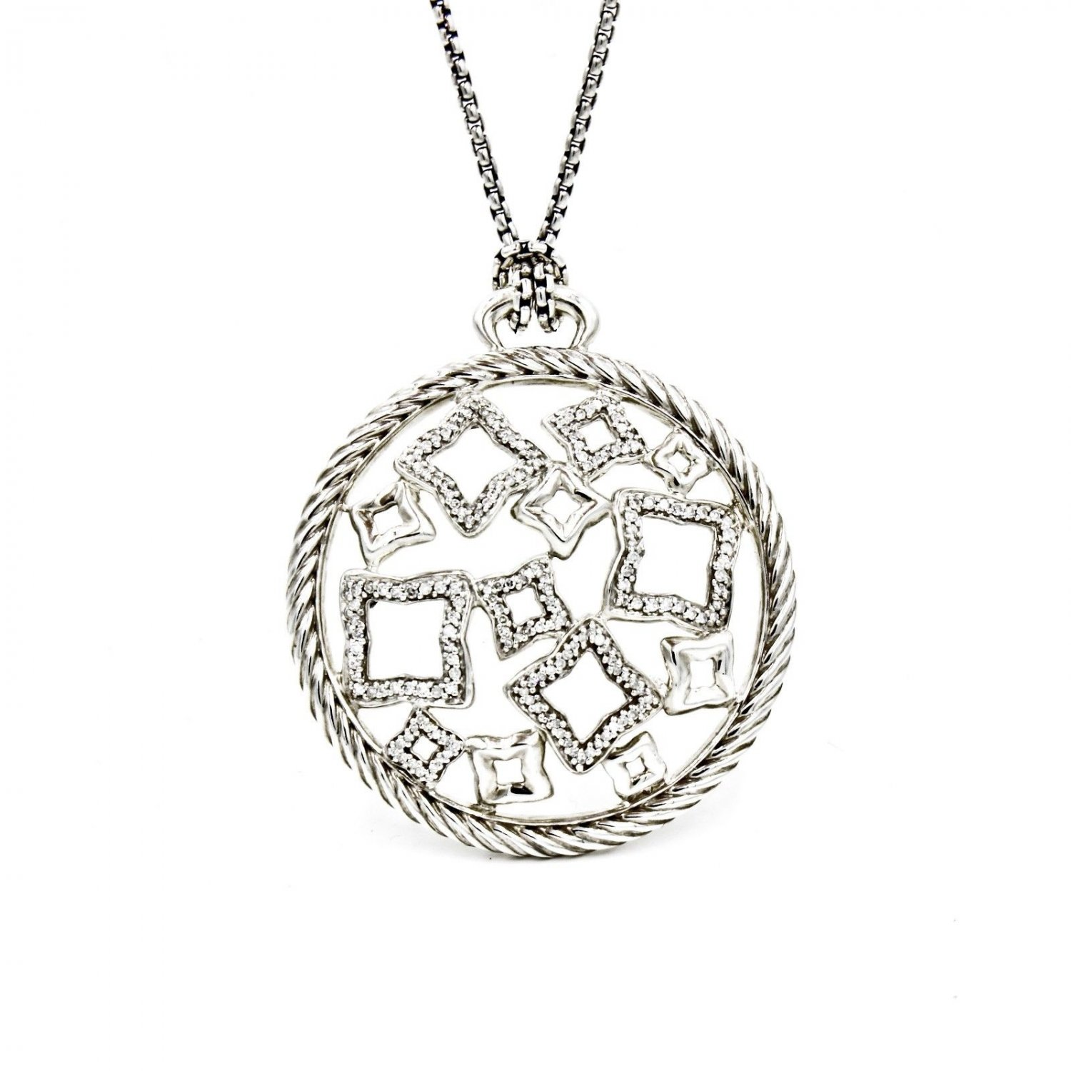 David Yurman XL Quatrefoil Pendant Necklace in Sterling Silver with Diamonds 16""
