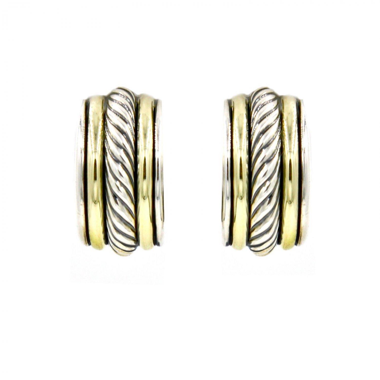 David Yurman 19mm Cable Classics Small Hoop Earrings Sterling Silver & 14k Gold