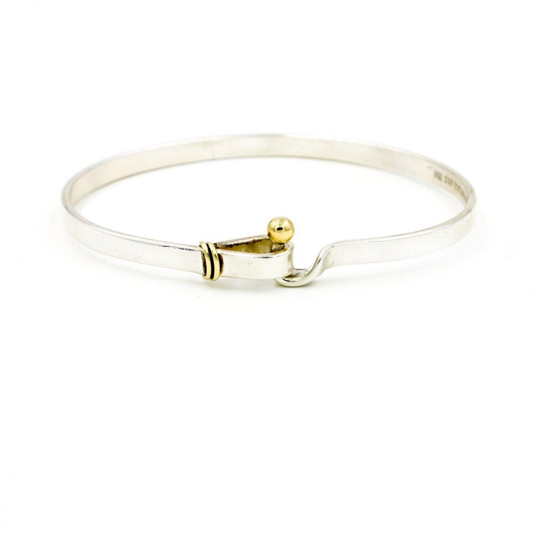 VintagTiffany & Co. Hook & Eye Clasp Bangle Bracelet in 18k Gold Sterling Silver