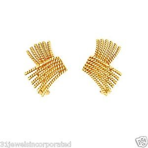 Tiffany & Co. Jean Schlumberger V-Rope Ear Clips in 18k Yellow Gold