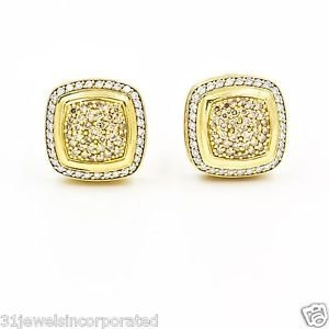 David Yurman Albion 16mm Pave Diamond 18k Yellow Gold Large Stud Earrings