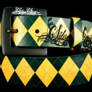 Green Argyle belt