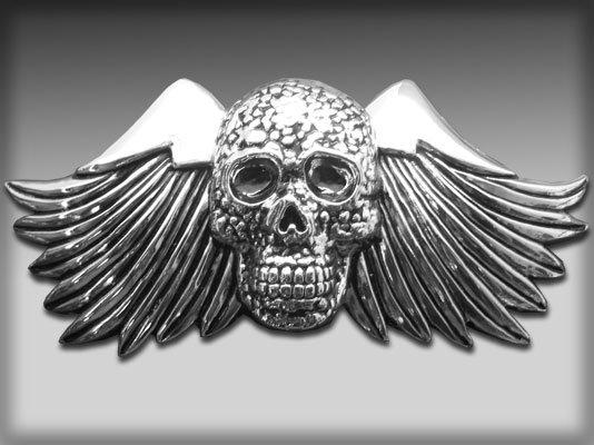 Chrome Large Wing Skull Belt Buckle