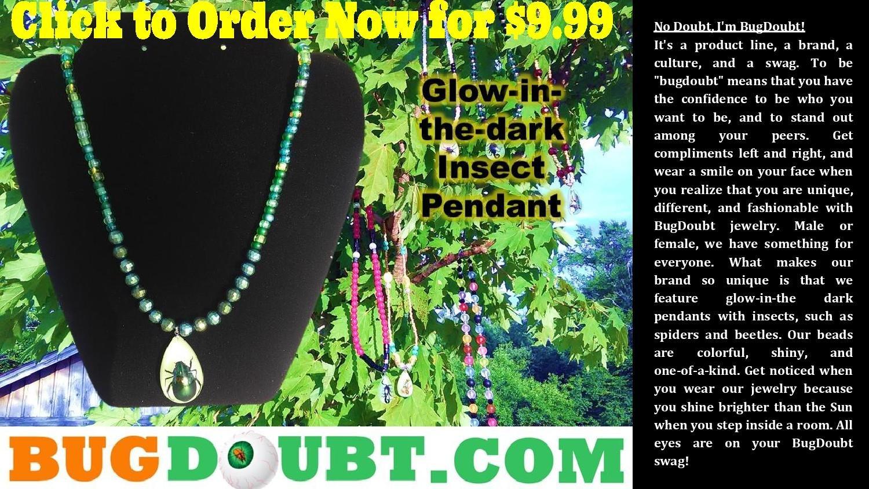 Green Pea w/ Multi-Color Beetle Pendant