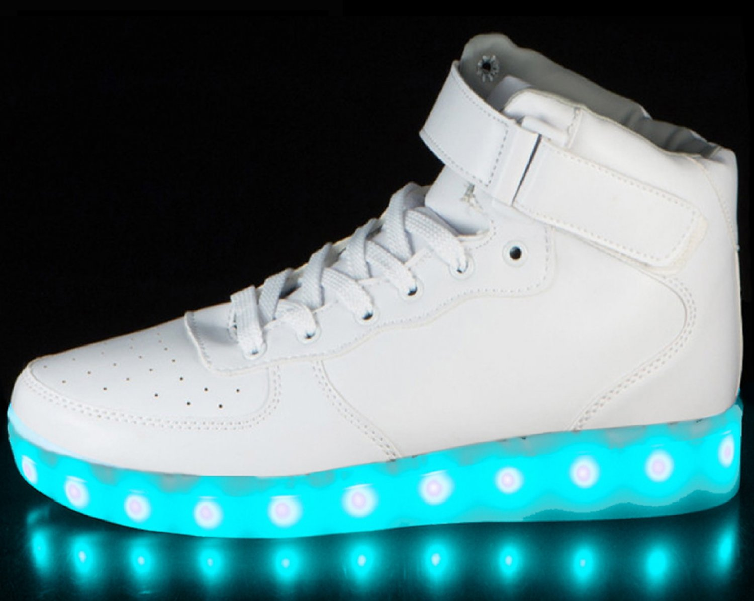 LED Shoes High Top White Men Sz 11