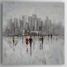 Hand-Painted Thick Abstract Landscape by Knife  Canvas Oil Painting With Stretcher For Home Decora