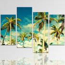 VISUAL STARSeascape Palm Tree Picture Print on Canvas with Wood Frame Natural Landscape Art Print