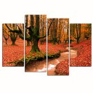 VISUAL STARAutumn Scenery Canvas Print Red Forest Canvas Art Stretched and Framed Ready to Hang