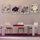 E-HOME Stretched Canvas Art Flower Decorative Painting  Set of 4