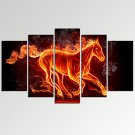 VISUAL STARAbstract Running Horse in Fire Canvas Art Home Decor Print Art Ready to Hang