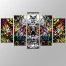 VISUAL STARModern Abstract Skull Picture Giclee Artwork 5 Panels Home Wall Decoration Framed Canva