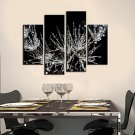 Stretched Canvas Print Art Botanical Frosted Leaves Set of 4