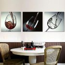 Stretched Canvas Print Art Still Life Red Wine Glass Set of 3