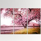VISUAL STAR3 Pieces Cherry Blossom Trees Wall Art with Wood Frame Giclee Canvas Artwork Ready to H