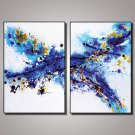 2 Panels Framed Blue Abstract Painting Picture Print on Canvas with Black Frame Modern Wall Art Re