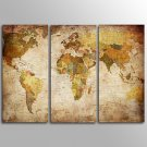 Canvas Set Unframed Canvas Print TraditionalThree Panels Retro World Map  Canvas Horizontal Print