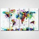 Unframed Colorful Pop Art Abstract Map Modern Giclee Print Art for  Wall Decoration (20x50cmx4pcs)