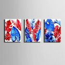 E-HOME Stretched Canvas Art Red And Blue Leaves Decoration Painting One Pcs