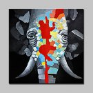 100% Hand-Painted Elephant Animal Oil Paintings On Canvas Modern Abstract Wall Art Picture For Hom