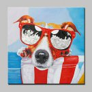 Large Oil Painting Modern Abstract Dog Animal Hand Painted Canvas Pictures With Stretched Frame Re
