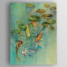 Oil Painting Fishes and  Water Lilies Painted Canvas with Stretched Framed Ready to Hang