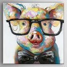 Oil Painting a Pig Wearing Glassess by Knife Hand Painted Canvas with Stretched Framed Ready to Ha