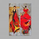 IARTS Hand Painted Oil Painting Set of 2 Lady in Red Dress Wall Art Acrylic Canvas Wall Art For Ho