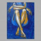 Blue Color Siting Lady Sexy Wall Art Decor Stretcher Ready To Hang