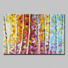 Hand Painted Knife Trees Landscape Oil Paintings On Canvas Modern Wall Art With Stretched Frame Re