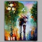 Lovers Kissed on Street Romantic Scenery Hot Modern Knife Painting