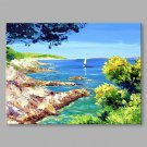 IARTS  Hand Painted Oil Painting Vintage Summer Beach Abstract Art Acrylic Canvas Wall Art For Hom