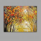 Hand-Painted Knife The river Flowing water Scenery Oil Painting Wall Art With Stretcher Frame Read