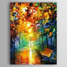 Hand-Painted  Impression Landscape by Knife  Oil Painting With Stretcher For Home Decoration Ready