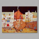 IARTS Hand Painted Modern Abstract Town Boat House Oil Painting On Canvas with Stretched Frame Wal