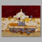 IARTS Hand Painted Modern Abstract Hill View With Blue Lake Oil Painting On Canvas with Stretched
