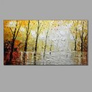 Handmade Oil Paintings Modern Landscape Rainy Street Canvas Material With Stretcher Frame Ready To