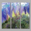 IARTS Abstract Oil Painting The Blue & Violet Color Patch Set of 3 with Stretched Frame Painting F