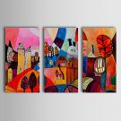 Hand-Painted Abstract Landscape Abstract Landscape Horizontal,Classic Traditional Three Panels Oil