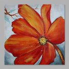 IARTSHand Painted Modern Abstract Beautiful Red Flower & Golden Color Stamens Painting On Canvas S