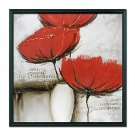 Floral Red Flower Art  Framed Oil Painting