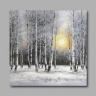 Ready to Hang Stretched Hand-Painted Oil Painting Canvas Wall Art Silver Birch Forest Trees Snow M