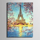 Mini Size E-HOME Oil painting Modern Sakura And Paris Tower Pure Hand Draw Frameless Decorative Pa